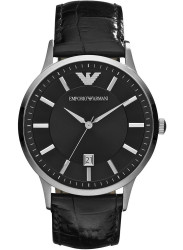 Emporio Armani Men's Black Dial Black Leather Watch AR2411