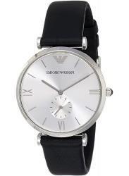 Emporio Armani Men's Retro Silver Dial Black Leather Watch AR1674