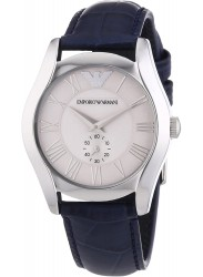 Emporio Armani Men's Silver Dial Blue Leather Watch AR1668