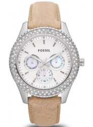Fossil Women's Stella White Dial Sand Tone Leather Watch ES2997