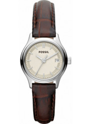Fossil Women's Silver Dial Brown Leather Watch ES3168