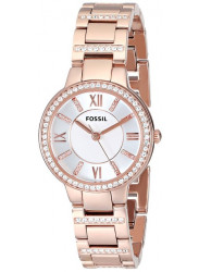 Fossil Women's Virginia Silver Dial Rose Gold Tone Watch ES3284