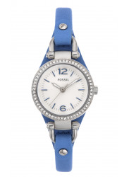 Fossil Women's Georgia Blue Leather Strap Watch ES3474