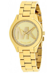 Michael Kors Women's Slim Runway Gold Tone MK Logo Watch MK3477