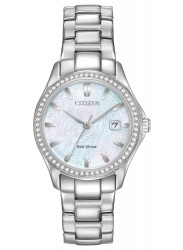 Citizen Silhouette Crystal Women's Mother Of Pearl Dial Stainless Steel Watch FE1140-86D