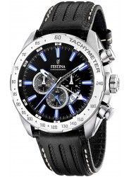 Festina Men's Chrono Sport Black Dial Black Leather Watch F16489/3