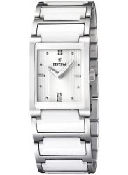 Festina Women's White Dial Two-Tone Ceramic Watch F16536/1