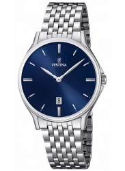 Festina Men's Classic Metal Blue Dial Stainless Steel Watch F16744/3