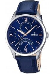 Festina Men's Retro Blue Dial Blue Leather Watch F16823/3
