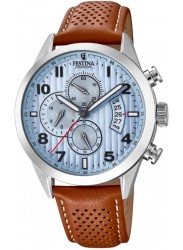 Festina Men's Chrono Sport Blue Dial Brown Leather Watch F20271/4