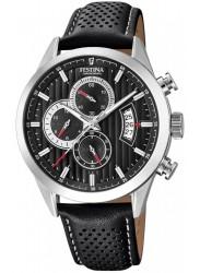 Festina Men's Chrono Sport Black Dial Black Leather Watch F20271/6