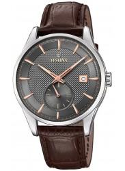 Festina Men's Retro Grey Dial Brown Leather Watch F20277/3