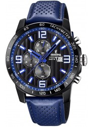 Festina Men's The Originals Chronograph Black Dial Blue Leather Watch F20339/4