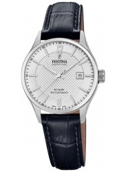 Festina Women's Swiss Made White Dial Black Leather Watch F20009/1