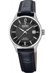 Festina Women's Swiss Made Black Dial Black Leather Watch F20009/4