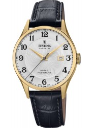 Festina Men's Swiss Made White Dial Black Leather Watch F20010/1