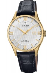 Festina Men's Swiss Made White Dial Black Leather Watch F20010/2
