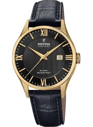 Festina Men's Swiss Made Black Dial Black Leather Watch F20010/4