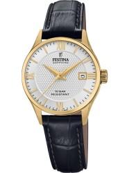 Festina Women's Swiss Made White Dial Black Leather Watch F20011/1