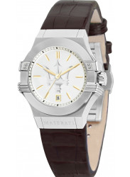 Maserati Women's Potenza Silver Dial Brown Leather Watch R8851108506