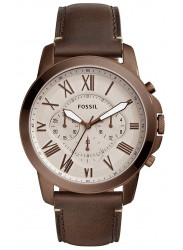 Fossil Men's Grant Chronograph Brown Dial Brown Leather Watch FS5344