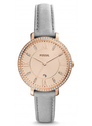 Fossil Women's Jacqueline Rose Gold Tone Dial Grey Leather Watch ES4304