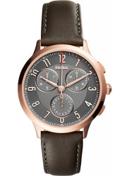Fossil Women's Abilene Chronograph Gunmetal Dial Grey Leather Watch CH3099