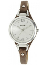 Fossil Women's Georgia Silver Dial Brown Leather Watch ES3060