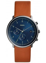 Fossil Men's Chase Timer Blue Dial Brown Leather Watch FS5486