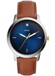 Fossil Men's Minimalist Carbon Blue Dial Brown Leather Watch FS5499