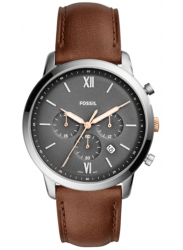 Fossil Men's Neutra Chronograph Grey Dial Brown Leather Watch FS5408