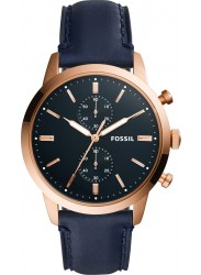 Fossil  Men's Townsman Chronograph Navy Dial Navy Leather Watch FS5436