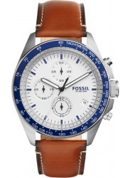 Fossil Men's Sport 54 Chronograph White Dial Brown Leather Watch CH3029