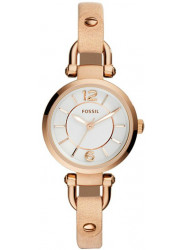 Fossil Women's Georgia White Dial Beige Leather Watch ES3745