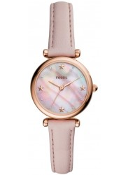 Fossil Women's Carlie Mini Mother of Pearl Dial Pink Leather Watch ES4525