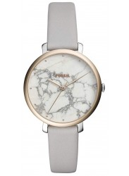Fossil Women's Jacqueline White Marble Dial Grey Leather Watch ES4377