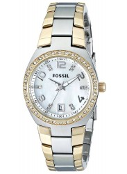 Fossil Women's Colleague Mother of Pearl Dial Two-Tone Stainless Steel Watch AM4183