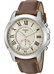 Fossil Men's Hybrid Cream Dial Brown Leather Smartwatch FTW1118