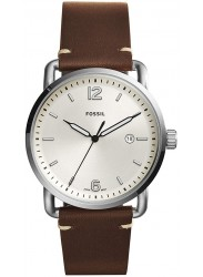 Fossil Men's Commuter Cream Dial Brown Leather Watch FS5275