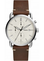 Fossil Men's Commuter Chronograph Cream Dial Brown Leather Watch FS5402