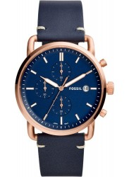 Fossil Men's Commuter Chronograph Blue Dial Blue Leather Watch FS5404