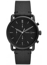 Fossil Men's Commuter Chronograph Black Dial Black Leather Watch FS5504