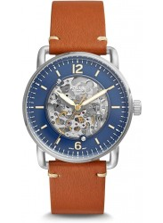 Fossil Men's Commuter Automatic Blue Dial Brown Leather Watch ME3159
