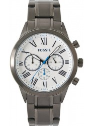 Fossil Men's Flynn Chronograph White Dial Gunmetal Stainless Steel Watch BQ2232