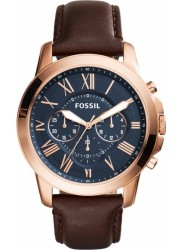 Fossil Men's Grant Chronograph Navy Dial Brown Leather Watch FS5068IE