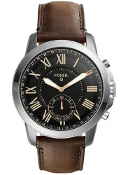 Fossil Men's Grant Hybrid Black Dial Brown Leather SmartWatch FTW1156