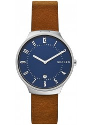 Fossil Men's Grenen Slim Blue Dial Brown Leather Watch SKW6457