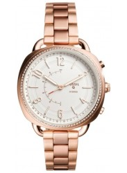 Fossil Women's Hybrid White Dial Rose Gold Stainless Steel Smartwatch FTW1208