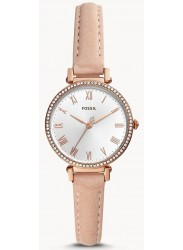 Fossil Women's Kinsey Silver Dial Pink Leather Watch ES4445