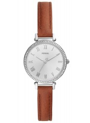 Fossil Women's Kinsey Silver Dial Brown Leather Watch ES4446